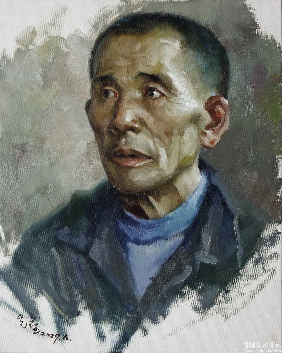 邓先荷_江西农民写生_人物_油画_318艺术商城_首家品
