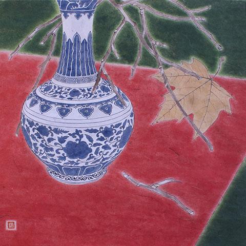 青花瓷瓶子线条画图片展示