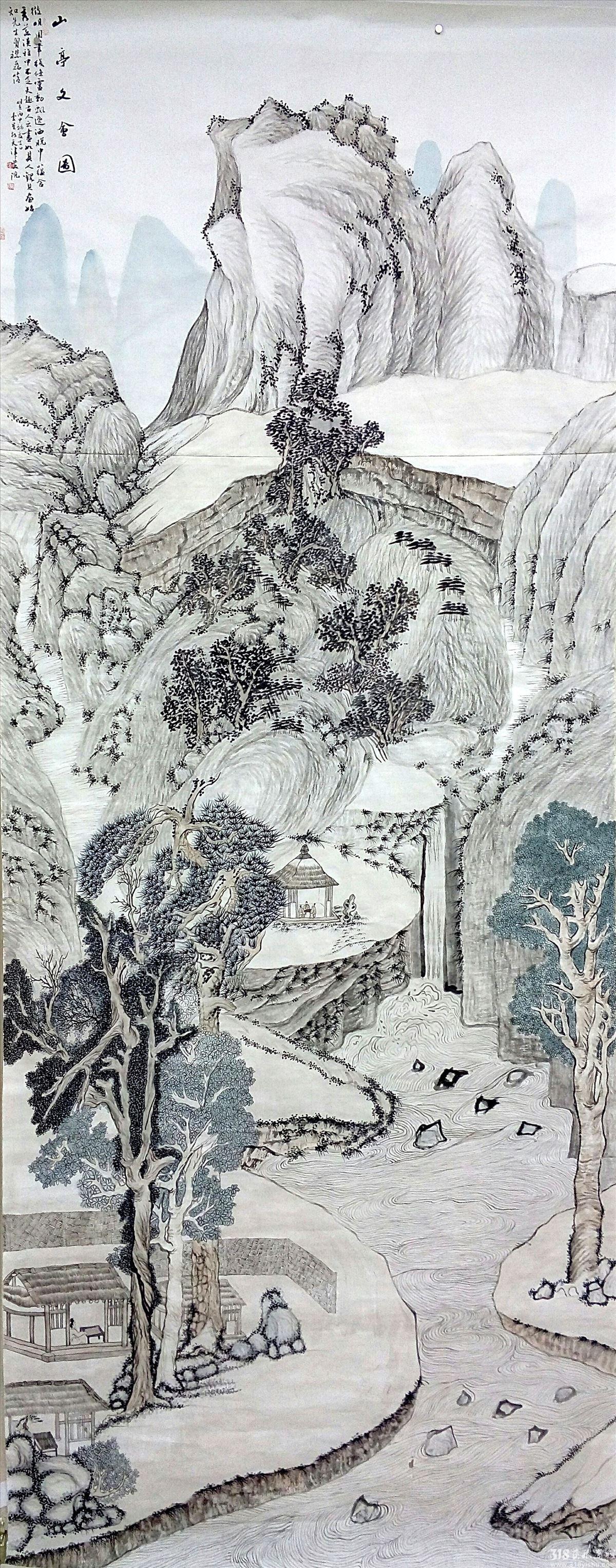 李星_山亭文会图_国画_318艺术商城_首家学院原创艺术