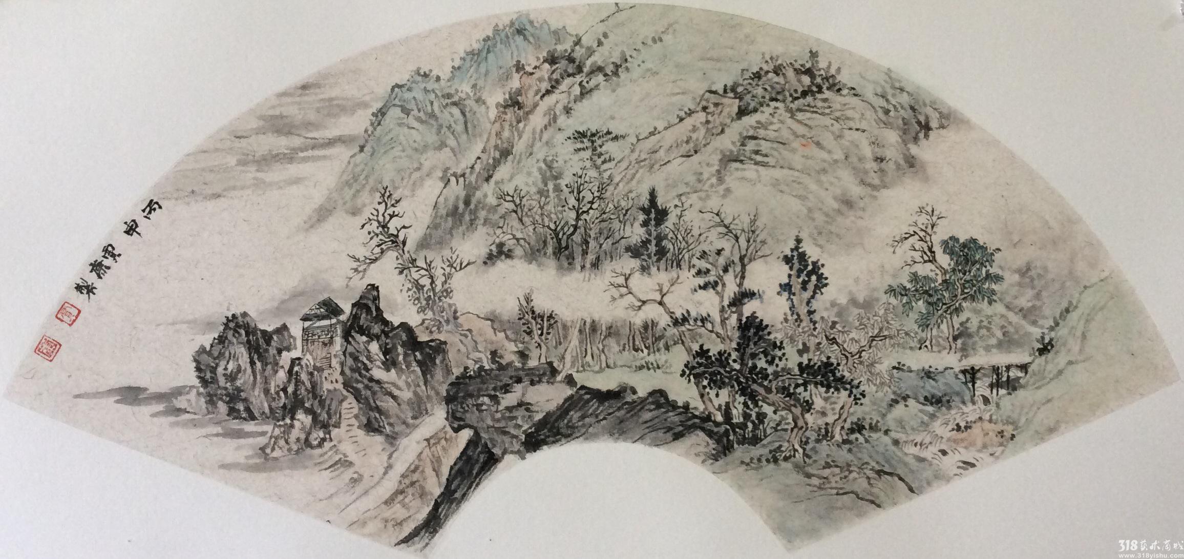 相比贾康以往的山水画作品,《扇面小品》系列显得格外的清新,但,仍然延续以往的风格,造型庄重而儒雅,文人气息浓重,对绘画艺术有着独特的见解,这与他潜心于民族传统绘画的研究与创作有关,因此在贾康的山水画中我们可以看到他秉持的中国传统中和的精神。视艺术为生命,历经艰辛而不渝。 谢云婷