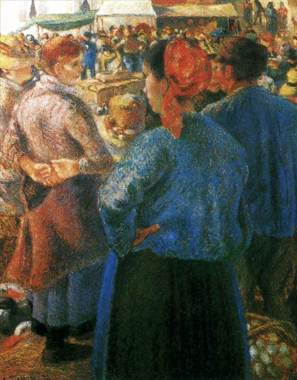318,油画,油画人物,毕沙罗,《蓬图瓦兹的家禽市场》
