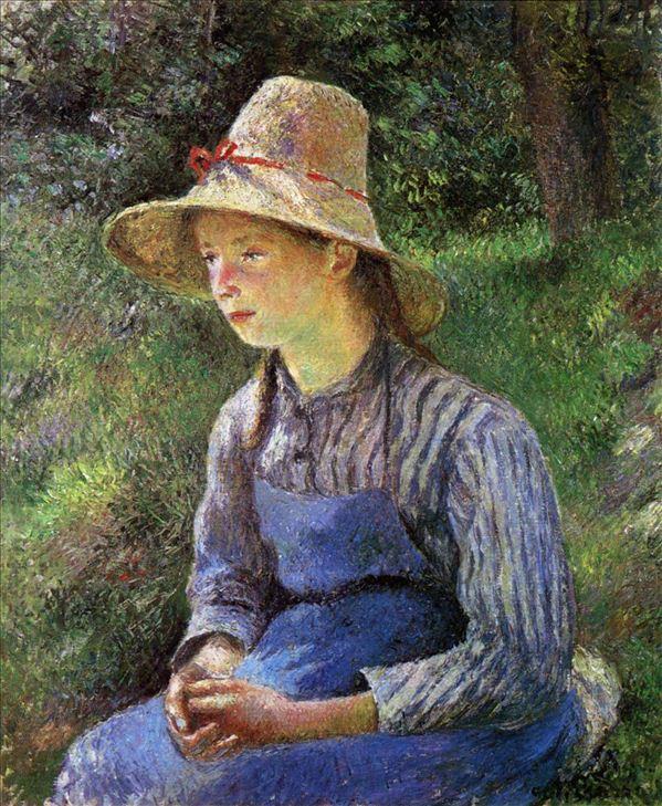 318,油画,油画人物,毕沙罗,《戴帽的农村少女》