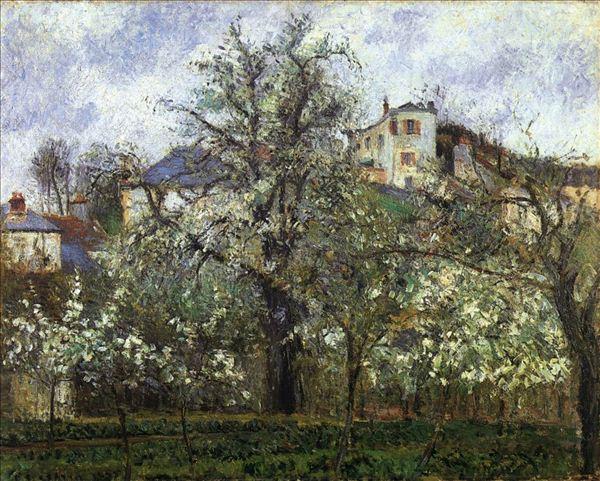 318,油画,油画风景,毕沙罗,《蓬图瓦兹春日里的菜园和开花的树》