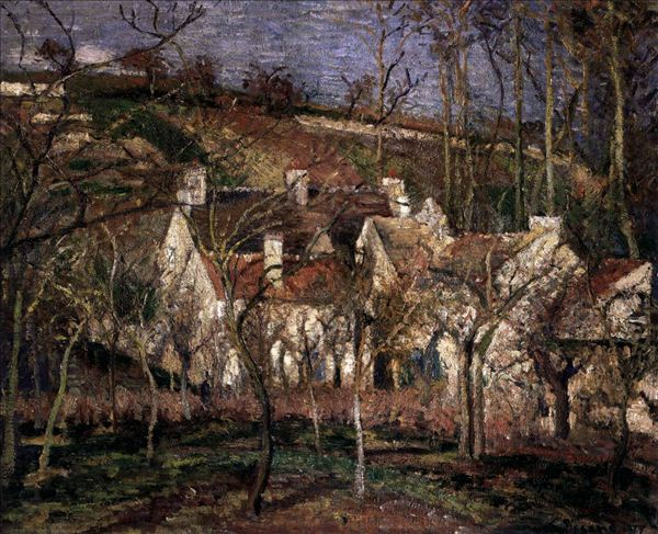 318,油画,油画风景,毕沙罗,《红色屋顶,冬天的乡村一角》