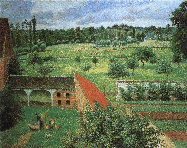 318,油画,油画风景,毕沙罗,《从窗口看到的叶拉尼风光》
