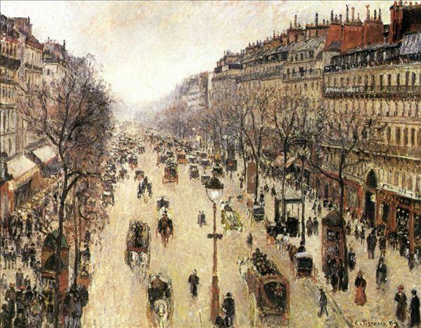 318,油画,油画风景,毕沙罗,《蒙马特大街》