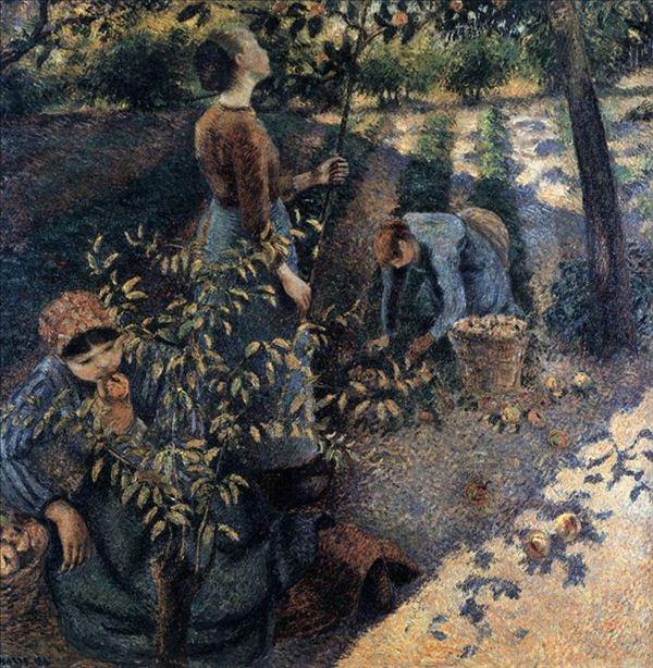 318,油画,油画人物,毕沙罗,《拾苹果的人》