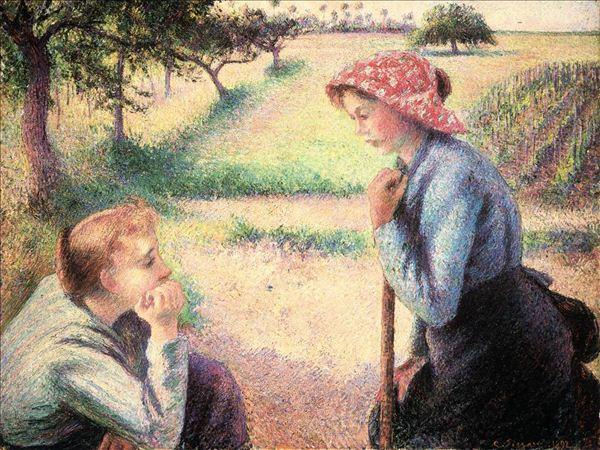 318,油画,油画人物,毕沙罗,《聊天》