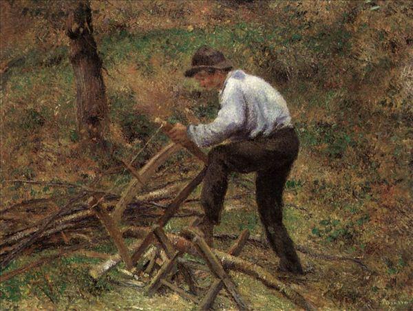 318,油画,油画人物,毕沙罗,《砍木柴的人》