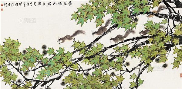 学生画松树