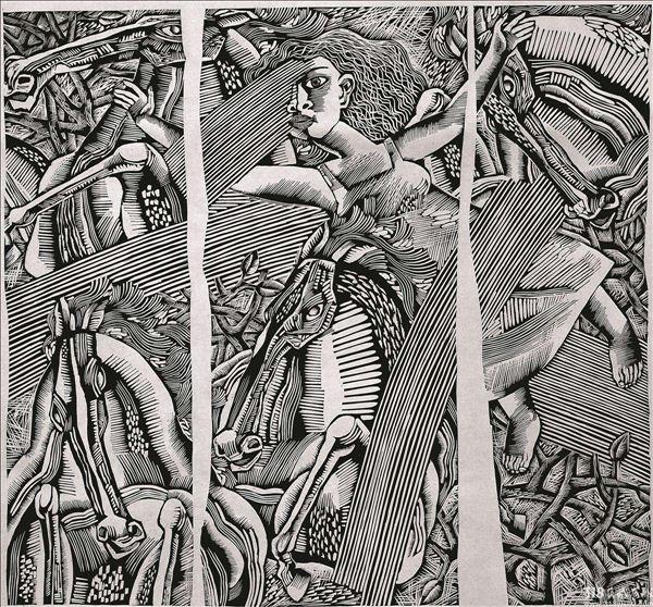 在当代中国原创版画的创作队伍中,有多位享有国际盛誉,如苏新平、朱伟,其作品被国内国际多家博物馆收藏。又如袁庆禄、谭平、广军、康宁、李川、邵常毅等等。版画艺术家由于个体生活体验的不同,创作的版画风格迥异。  康宁 《独木之舟》,黑白木刻版画,17536cm,2008年作。  康宁 《飞翔》,黑白木刻版画,6068cm,2000年作。 318版画家康宁在黑白木刻风格的基础上逐渐创造出一种属于艺术家自己的新视觉图式灰色调木刻。灰色色调中不同质的点线色块呈现出不同的色温,虽无敷色却能感受到色彩的层次和强度。