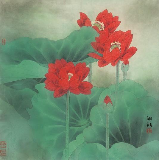 318,318艺术,当代艺术,艺术品网站,艺术品交易网站,国画,陈湘波,《荷·映日》