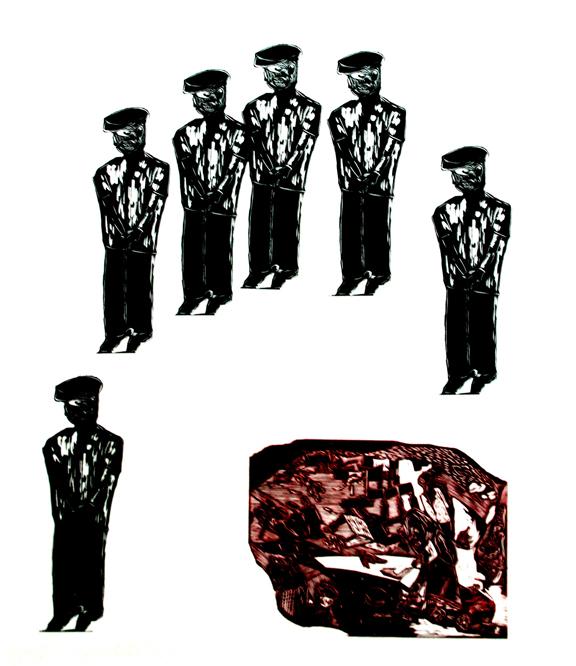 318艺术家 邱飞 版画作品 《荒野6》 318艺术家邱飞的作品都是使用树木来营建一种场景,这种场景又承载了他内心深处的情感。 我和邱飞认识的时间不长,因为朋友的推荐才了解到他的作品,之后在一次晚宴上遇到后才算正式认识。邱飞是一个喜欢思辨而且时刻保持进取的人,他使用黑白木刻的方式创作,不但创作的材料是木板,而且画面绝大多数也是树木,这也正如他给人的感觉是一个质直、朴实的木性人一样。在我的印象中,使用木质材料创作的艺术家大多都具有一种忧郁的气质,这种气质沉寂而蕴含某种隐形力量。邱飞的作品中便具有这种特征,