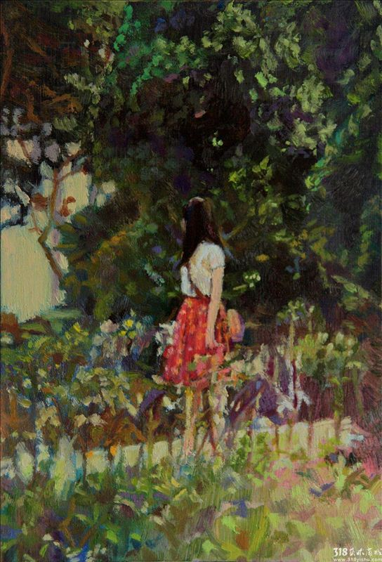 看到刘娜的作品的第一眼,就想起美国著名艺术家约翰辛格萨金特John Singer Sargent的最著名的那张作品《石竹、百合、玫瑰 》,这张作品是萨金特表现瞬间光影效果最突出、最著名的一幅油画。画面描绘了黄昏暮色笼罩下的花园里,两个小姑娘正在点燃手中的灯笼,背景是一丛丛盛开的石竹、百合、玫瑰。白色的衣裙与光影下的花朵,闪烁的灯与映在脸庞上的红晕,冷暖两种相互对比且相辅相成的色调,构成了画面既温馨又浪漫的图景。当这幅画在英国皇家美术馆展出时,取得意想不到的反响。很多人评论说:它是那样光彩夺目,以致使周