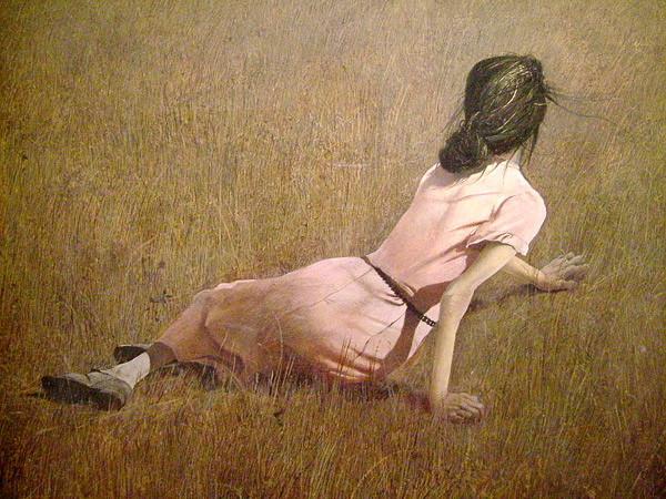 乡愁是中国隐逸文化的会心之处,在大洋彼岸,同样有一位画家,远离世俗,远离喧嚣,无视美国的所谓当代艺术,无视各种流行的流派与技巧,数十年如一日地单纯描绘着他心目中的乡愁与光阴。  《克利斯蒂娜的世界》 安德鲁怀斯 蛋彩 82.5121cm 1948 纽约现代艺术博物馆藏 安德鲁怀斯(Wyeth,Andrew,1917~2009),是美国20世纪最伟大的画家之一。许多人对他的了解的,多是从他最为闻名的画作《克利斯蒂娜的世界》开始的。这幅画描绘了一个患小儿麻痹症而致残的少女。少女在这满目荒凉的土地上,用那双